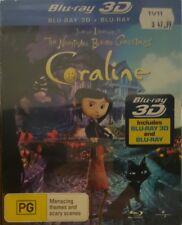 *New & Sealed* Coraline 3D + 2D (Blu-ray 2011 2-Disc Set) Cardboard Slipcase AUS