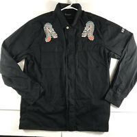 Pacsun Embroidered Dragon Anti-You Mens Large Zip up Jacket Black Boxy Fit
