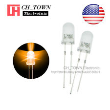 100pcs 5mm LED Diodes Water Clear Orange Amber Light Transparent Round Top USA