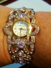 Gold Plated Ladies Pink Crystal Watch