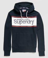 Superdry Retro Sport Hoodie - Eclipse Navy White Pull Sweatshirt World Shipping