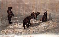 BERN BARENGRABEN BAHNHOF TRAIN CANCEL SWITZERLAND TO USA ZOO BEARS POSTCARD 1909
