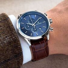 VINCERO Watches Chrono BLUE BROWN Italian Leather Men's Luxury Watch *New In Box