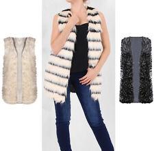 Ladies Faux Fur Mongolian Black Gilet jacket Winter Coat Outerwear Waistcoat uk