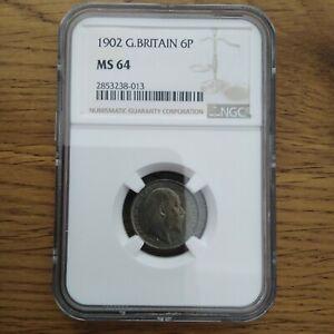 1902 Six Pence, Edward VIII. BU NGC MS64