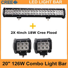 "20"" 126W CREE Led Light Bar Flood Spot Off-road 4WD Truck with 2X 18W Flood Lamp"