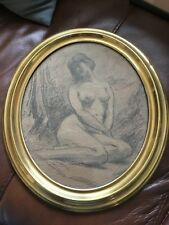 Old Vintage Charcoal Study Drawing Of A Chinese Female Nude Framed