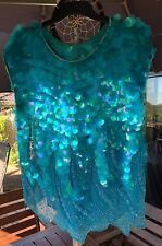 MINT CONDITION **STUNNING** AQUA SEQUINNED TOP - Size 10