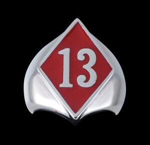 Stainless 13 Diamond Face Biker Ring red Enamel Occult Custom Size R-125rss