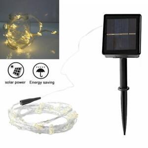 8Modes 2M 10 Strands 200pcs 0603 LED Warm Light Solar Waterfall Light String