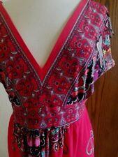 Kiara Light weight Summer Dress Red Paisley Sexy Deep V Empire Waist Size M