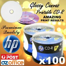 PREMIUM 100 x HP CD-R GLOSSY ART CANVAS Printable CD Discs 52X 80mins Blank CD R