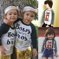 Baby Boy Girl Kids Toddler Clothes Long Sleeve Cotton Tee T-Shirt Tops Blouse UK