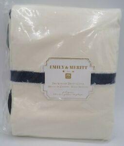 Pottery Barn Teen Emily Meritt Scallop Duvet Cover Full Queen Black Egret #473G