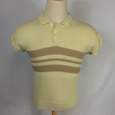 Vtg Mod Retro Atomic Mid Century OG Pimp Hollywood Knit Surf Stripe Polo Shirt