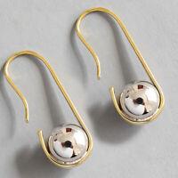 Solid 925 Sterling Silver U-Shaped Hook Ball Earrings for Women Fine Jewelry