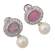 FAB Sterling Silver PURPLE FIRE OPAL/FRESHWATER PEARL OMEGA BACK  Earrings 23mm