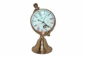 Globe Stand Clock Quartz White Face Roman Number Brass Made ECs