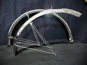 """Vintage RALEIGH 26"""" mudguards Bicycle fenders Chromium pair NOS Made in England"""