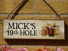 PERSONALISED BEER SIGN GOLFERS GIFT 19th HOLE SIGN FUNNY WOODEN SIGNS GOLFING