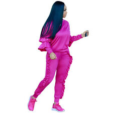 2Pcs Women Solid Sport Casual Tops Sweatshirt Track Pants Sweat Suits Tracksuit
