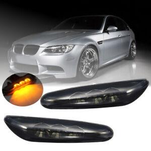 Pair LED Side Marker Light Smoke Turn Signal For BMW E82 E88 E60 E61 E90 E91 E92