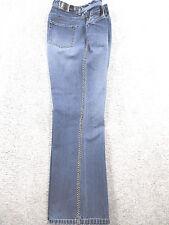 LIZ CLAIBORNE VTG Women's Blue Bootcut Jeans Embroidered Stitch On Legs Size 10