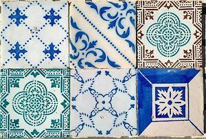 6 Antique Tiles - Portuguese Wall Tiles 1800´s - Portuguese Azulejos Hand Made