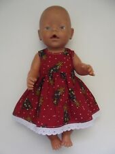 "DOLLS CLOTHES to fit 43cm (17"") Baby Born *Christmas Dress*"