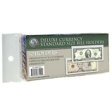 50 Regular Deluxe Pvc Currency Sleeve Bill Holders Paper Money Semi Rigid