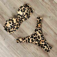 Leopard Bikini Damen Bikini Set Zweiteilig Bandeau Push Up BH Bademode Badeanzug