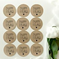 Custom Made Stickers For Your Happy Tears Kraft Brown Wedding Stickers, Labels