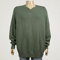 Lands' End Crewneck Pullover Sweater 2XLT Tall 50 52 Men's Green Cotton