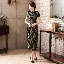 Luxurious Black Satin Dragon Phoenix Chinese Dress Cheongsam Qipao lcdress53