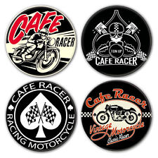 Lot de 4 badges CAFE RACER - Triumph Norton Triton BSA Motorcycle Biker Vintage