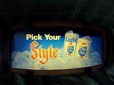 VINTAGE Heileman Old Style  Lighted Beer Sign  Barrel Keg Style Nice Shape