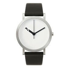 "Normal Timepieces ""Extra Grande"" Quarzo Acciaio Bianco Pelle Nero Orologio Uomo"