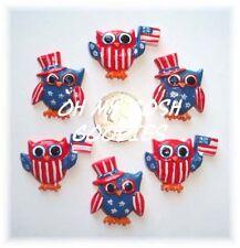 6PC HOOT HOOT HOORAY PATRIOTIC OWL USA FLAG FLATBACK RESINS 4 HAIRBOW BOW CENTER