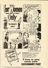 1949 vintage ad, Fleischmann's Yeast , 'For Women Only' Cartoon-042013