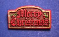 Hallmark PIN Christmas Vintage SIGN MERRY WOOD LOOK Nostalgic Holiday Brooch