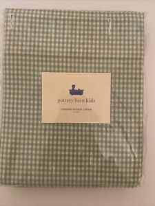 New Pottery Barn Kids Green & White Gingham Checked Shower Curtain