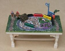 1:12 Scale Metal Train Set Fitted On To A Scenic Board Dolls House Railway Toy