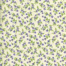 MARIPOSA SMALL PURPLE VIOLETS ON CREAM Cotton Fabric BTY for Quilting Craft Etc