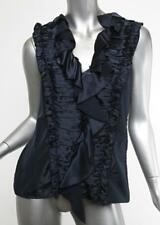 OSCAR DE LA RENTA Blue Ruched Ruffle V-Neck Sleeveless Top Blouse 6 NWT $650