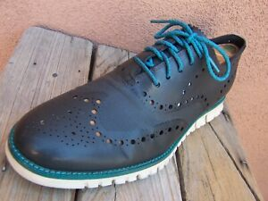 COLE HAAN Mens Casual Dress Shoes Gray Turquois Leather Wingtip Oxford Size 7.5M