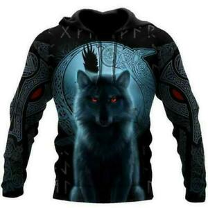 Fenrir Viking Wolf And Moon 3D Hoodie Mothers Day Gift Custom Printed S-5XL