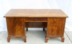 Art Deco Walnut Desk, Writing Table. 1920s Vintage Antique Office Partners Desk.