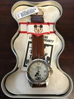 VINTAGE CRYSTAL FACED MICKEY MOUSE WATCH WITH ORIGINAL TIN - LEATHER BAND