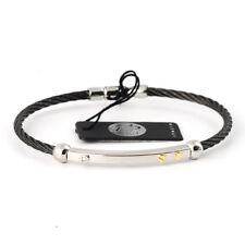 "Salvatore Bersani 6710 black men's bracelet 8"" steel gold 18K diamond Italy made"