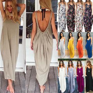 Womens Boho V Neck Sleeveless Long Dress Ladies Maxi Dress Summer Beach Holiday